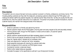 Customer Service Job Responsibilities Resume by Cashier Job Duties For Resume Restaurant Cashier Job Description