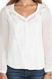 swiss dot blouse lyst beyond vintage swiss dot top in ivory in white