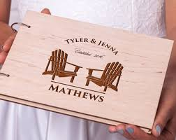 engravable wedding guest book rustic wedding guest book wood guestbook tandem bike guest