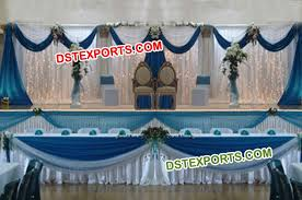 wedding backdrop blue stage white blue backdrop curtains