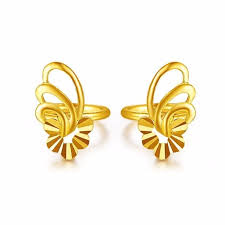 gold earrings for women images 24k yellow gold earrings women luck butterfly flower stud