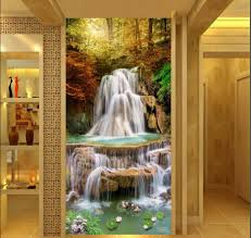 3d Wallpaper Home Decor Online Buy Wholesale Waterfall Entrance Wallpaper 3d Mural From