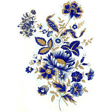 gold flowers decal 0621 blue gold flowers