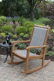 amazon com outdoor interiors resin wicker and eucalyptus rocking