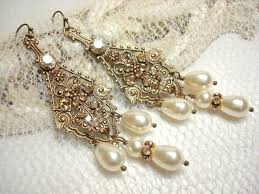 Bridal Chandelier Earrings Bridal Chandelier Earrings Antique Gold Earrings With Swarovski