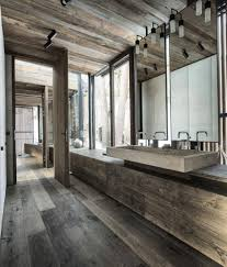 rustic modern home creditrestore us modern rustic bathroom design of cool trough sink and gray wood floor idea feat tall vanity