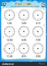 telling time worksheet pre kids stock vector 243930274