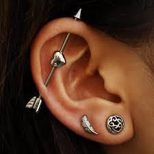 heart cartilage cool ear piercing ideas industrial barbell heart arrow