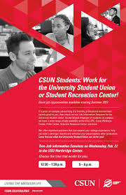 Resume For On Campus Jobs by Csun Students Job Information Sessions At The Usu California