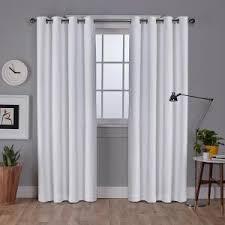 Winter Window Curtains Vesta Winter White Heavyweight Textured Linen Blackout Grommet Top