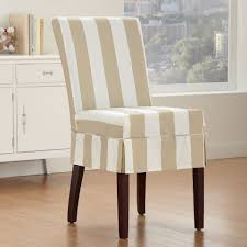 sure fit parsons chair slipcovers cabana striped dining chair slipcover in bone dining room