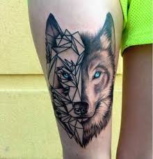 fantastic geometric wolf design for thigh
