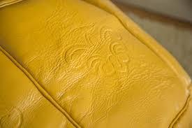 Mustard Yellow Ottoman Mustard Yellow Large Leather Moroccan Pouf Ottoman