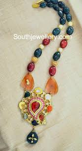 beaded pendant necklace designs images Multicolor beads necklace with navratna pendant jewellery designs jpg