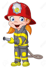 firefighter cute cartoon illustration of a fireman stock photo