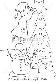 eps vector decorating christmas tree coloring book