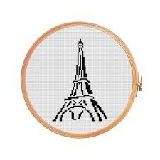 eiffel tower paris france cross stitch pattern art supplies