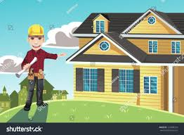 vector illustration home builder posing front stock vector