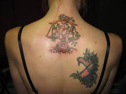 libra scales with tree or vine zodiac symbol tattoos