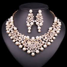 bridal gold sets fashion pearl statement necklace earrings bridal jewelry sets