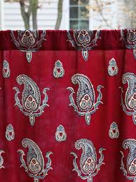 Red Kitchen Curtain by Red Kitchen Curtain Paisley Print Red Café Curtain Red Paisley