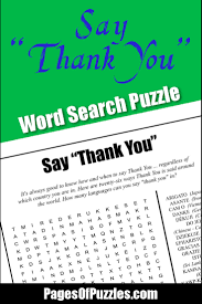 say u201cthank you u201d word search u2013 pages of puzzles
