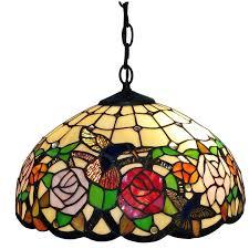 Hanging Lamps Amora Lighting Tiffany Style Am019hl16 Hummingbirds Floral Hanging