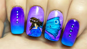 blue fairy freehand nail art tutorial youtube