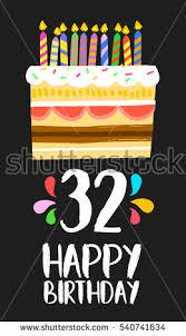 happy birthday number 32 greeting card stock illustration