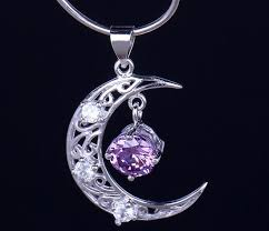 amethyst necklace silver images Silver amethyst moon necklace moon pendant amethyst jewelry jpg