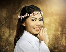 asian headband asian woman wearing flower headband stock photo leolintang