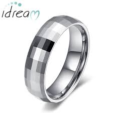 Mens Tungsten Carbide Wedding Rings by Faceted Domed Tungsten Wedding Band For Women Or Men White