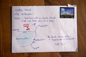 letter sent to iceland farm with hand drawn map instead of address