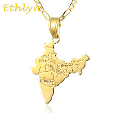 pendant necklace india images Ethlyn gold color indian map pendant necklace for women men jpg