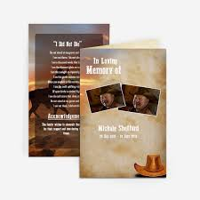 funeral program sle cowboy funeral card funeral phlets