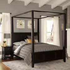 Home Styles Bedford Black King Canopy Bed The Home Depot - Black canopy bedroom sets queen