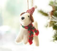 felt terrier with hat ornament pottery barn
