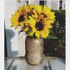 Sunflower Centerpiece Golden Glitter Sunflower Centerpiece Decorative Mason Jar