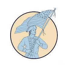 Waving Flag Artist American Patriot Waving Usa Flag Circle Drawing Digital Art By