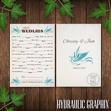 Wedding Mad Lib Template Wedding Mad Lib Card Printable Wedlibs Blue Bird Wedding Guest