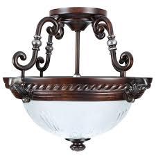 Bronze Semi Flush Ceiling Light by Hampton Bay Bercello Estates 2light Volterra Bronze Semi Flush