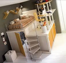 interior modern loft bed with desk wardrobe and storages ideas