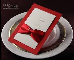 customized ribbon customized invitation card with satin ribbon and white