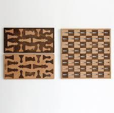 ilem leather goods flat wooden minimalist chess set noveltystreet