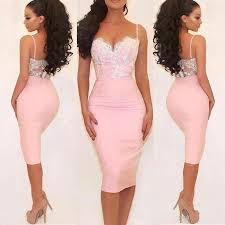 spaghetti straps knee length prom dress pink tight prom dresses