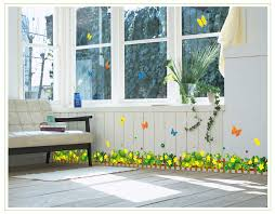 grils clover flowers border wallpaper decals kids plants garden