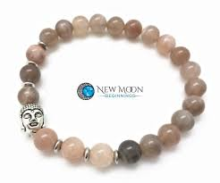 moonstone buddha moonstone bracelet with silver buddha charm new moon