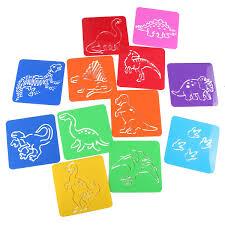12pcs dinosaur drawing painting template animals stencil ruler
