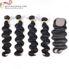 top closure silk top closure with wave 4pcs hair weaves