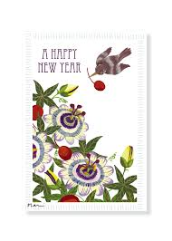 new year post card new year card flowers fruits and a bird pear design